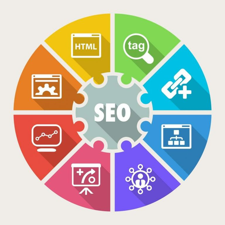 seo rainbow graphic