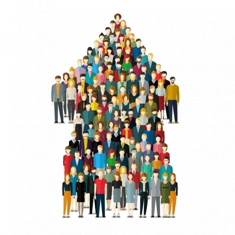 Vector illustration in flat style of a crowd of people in the shape of an upward-facing arrow