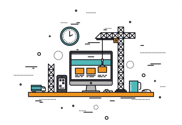 Line illustration of mini construction site on a desk, building a website