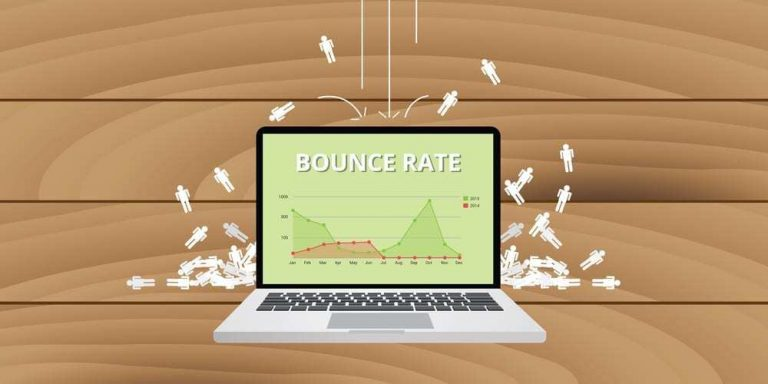 graphic illustration for bounce rate, depicting laptop displaying bounce rate chart, human figure graphics fall onto the laptop and bounce off